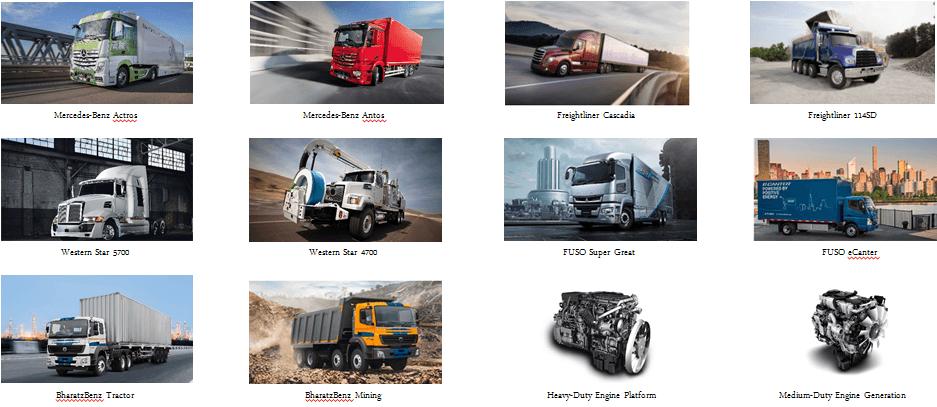 Line up các sản phẩm Daimler